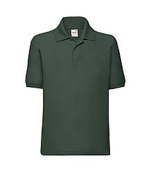 Детская футболка поло темно-зеленая 417-38