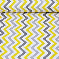 Хлопковая ткань Серо-желтые зигзаги (комп.Прянички)