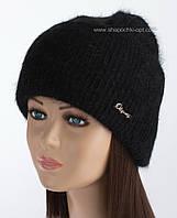 Женская шапочка с отворотом Мискантус люрекс цвет черный