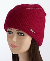 Стильная шапка с отворотом Мискантус люрекс цвет рубин