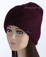 Вязаная шапка с отворотом Мискантус люрекс цвет бургунди