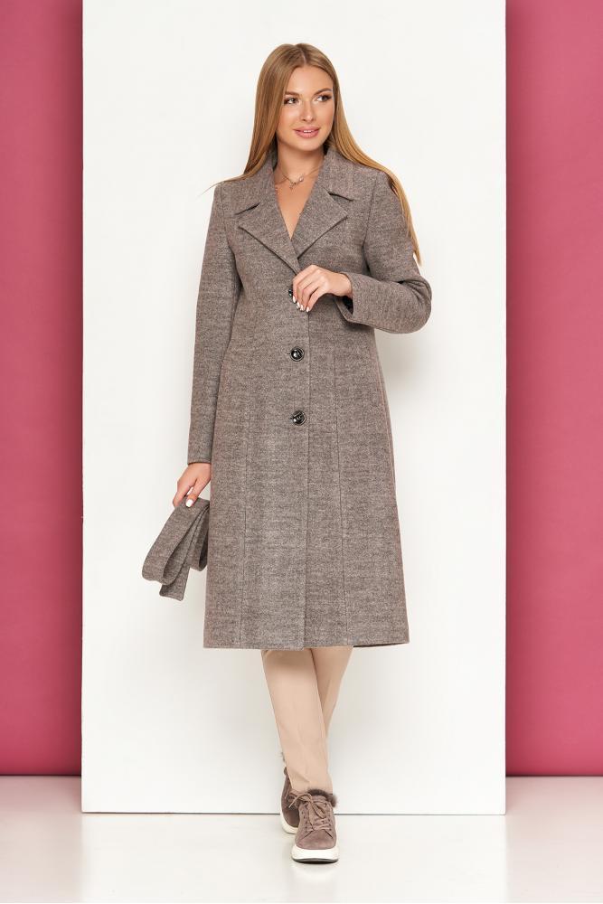 Классическое пальто демисезонное шерстяное капучино