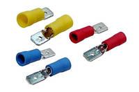 Плоский втычный соединитель - вилка 6,3x0,8мм, для провода 1,5-2,5кв.мм (фастон-папа), полуизолированный
