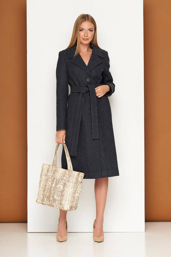Демисезонное классическое пальто женское шерстяное темно-синее, фото 2