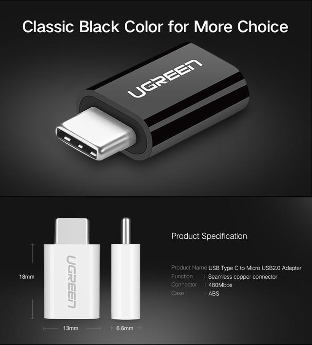 Ugreen адаптер-переходник microUSB к USB Type-C US157 Особенности и размеры