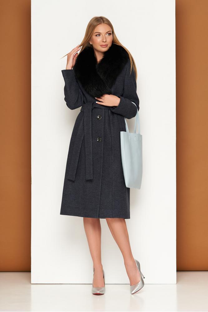 Женское теплое пальто зимнее с мехом шерстяное