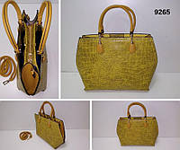 Сумка жіноча, жовтий, екошкіра Арт.9265 Angel Polo Туреччина (Женская сумка среднего размера, желтый, экокожа.)