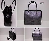 Сумка жіноча, чорний(крокодил), екошкіра Арт.9280 Angel Polo Туреччина (Женская сумка среднего размера, черный, экокожа)