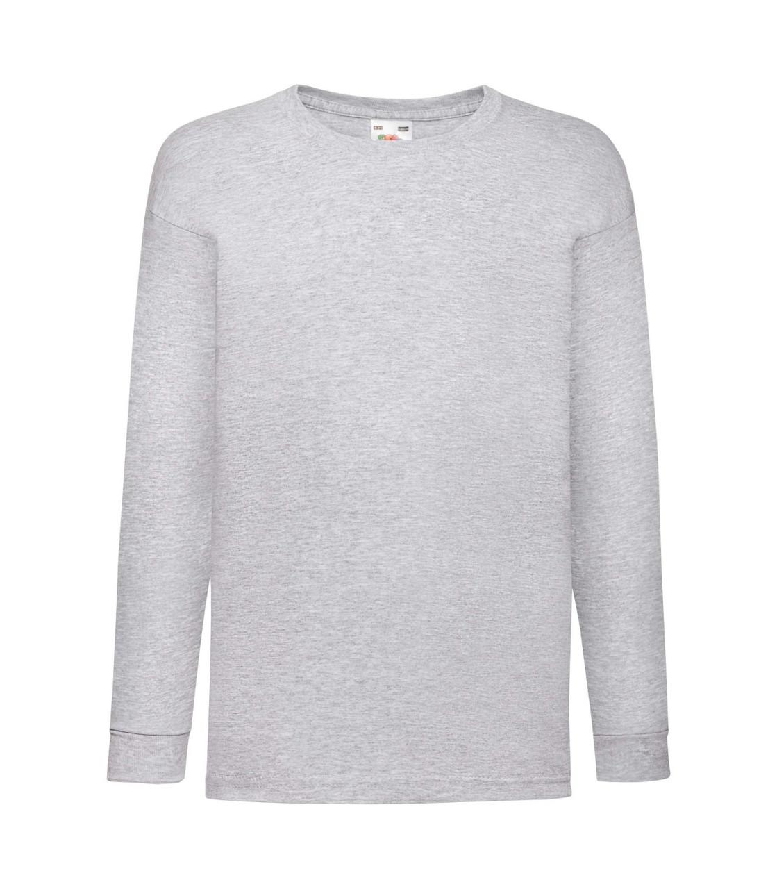 Детская футболка с длинным рукавом светло-серая 007-94