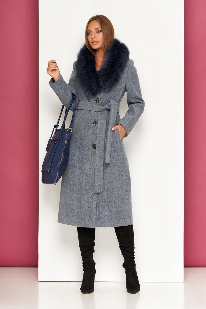 Женское шерстяное пальто зимнее с натуральным мехом