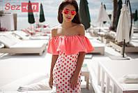 Платье летнее с открытыми плечами - Персиковый