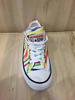 Конверсы All Star белые с разноцветными линиями