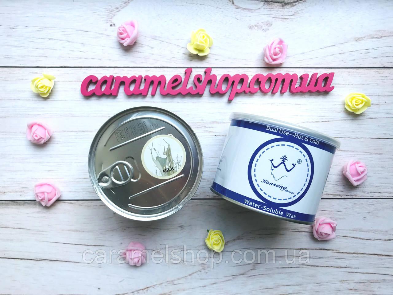 Теплый воск для депиляции жидкий в банке Konsung, 500 мл - MILK молоко