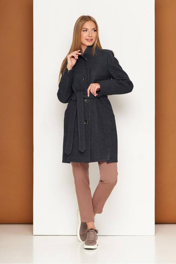 Женское осеннее пальто шерстяное темно-серое, фото 2