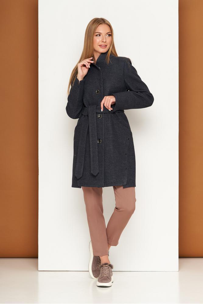 Женское осеннее пальто шерстяное темно-серое