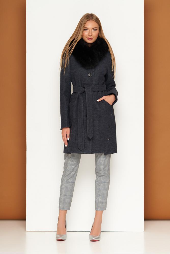 Зимнее шерстяное пальто женское с меховым воротником
