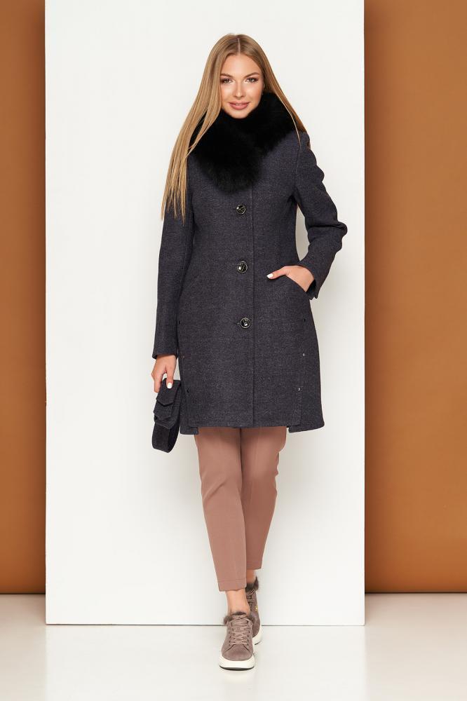 Зимнее шерстяное пальто женское с песцовым воротником