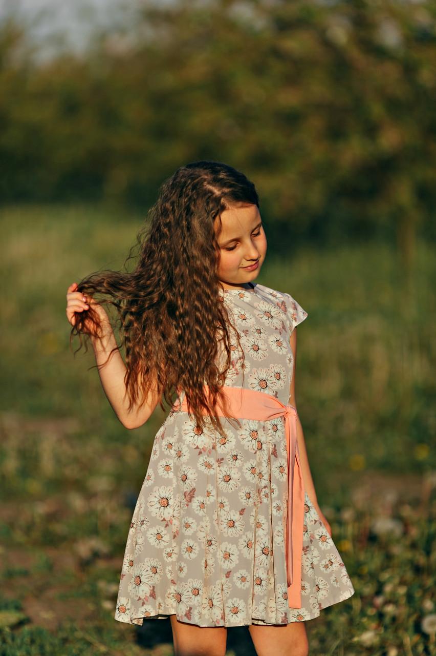 """Платье для девочки """"Ромашка""""  серого цвета"""