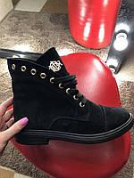 Женские зимние черные ботинки на шнурках натуральная замша низкий ход