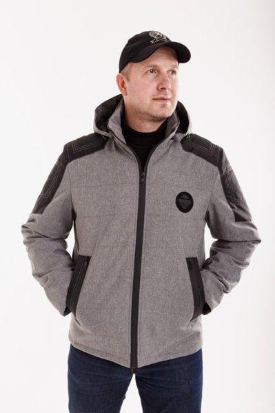 Демісезонная мужская куртка Annapolis АН-16 сірий осінь/весна с капюшоном розміром 46 48 50 52 54 56 58