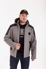Демісезонная мужская куртка Annapolis АН-16 сірий осінь/весна с капюшоном розміром 46 48 50 52 54 56 58, фото 2