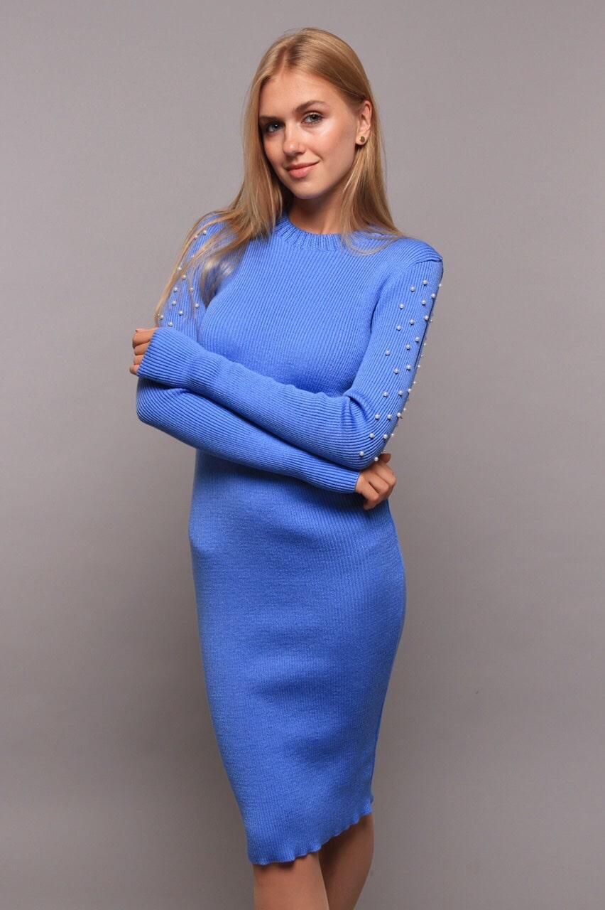 Платье женское в бусинках разрез на плечах