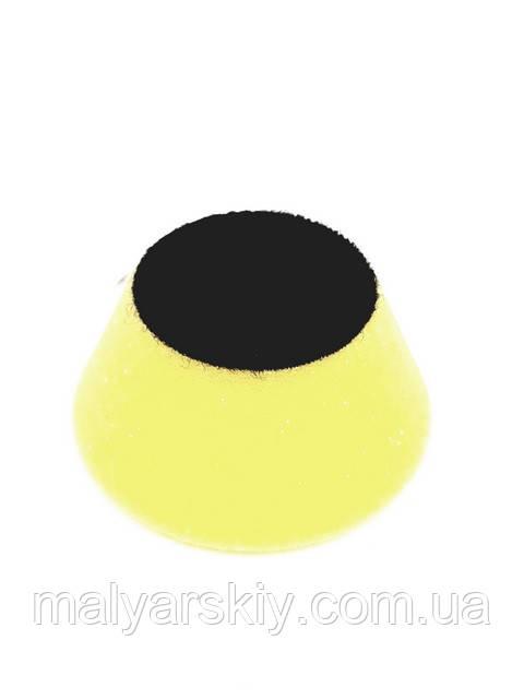 44514 Полірувальний круг конусний на липучці 50мм*25мм  ЖОВТИЙ  PYRAMID