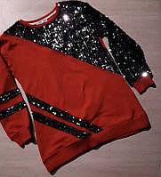 Туника подростковая для девочки с пайетками 8-12 лет, красного цвета