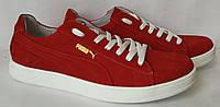 Кросівки кеди Puma classic дитячі з червоної натуральної шкіри для дівчаток і хлопчиків! підліткові кеди пума