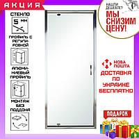 Душевая дверь в нишу 80 см распашная  Eger 599-150-80(h) стекло прозрачное