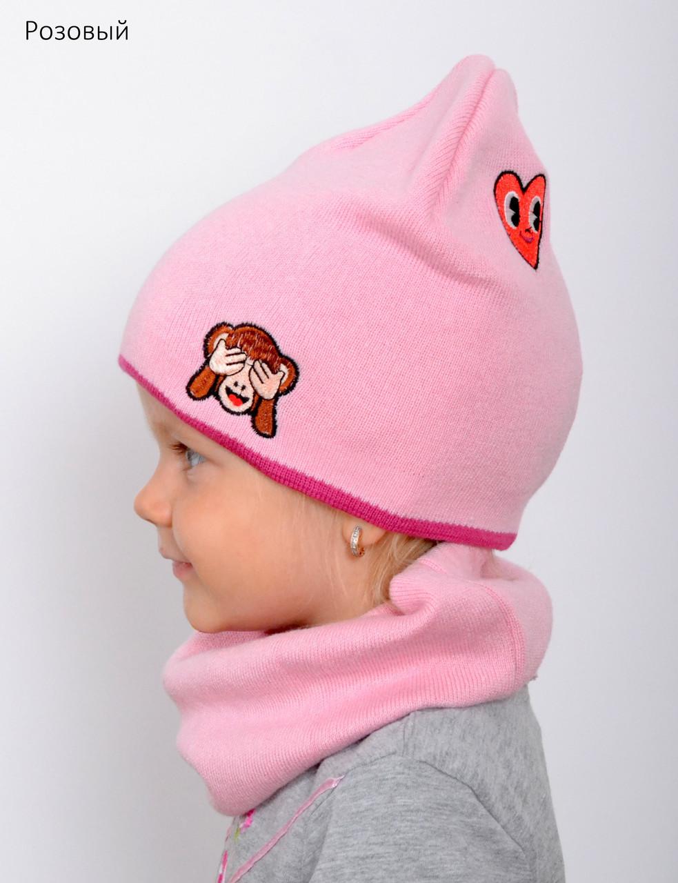 Детская шапка на весну для девочки, Коралловый, 48-53