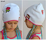Детская шапка на весну для девочки, Коралловый, 48-53, фото 3