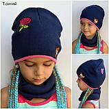 Детская шапка на весну для девочки, Коралловый, 48-53, фото 4