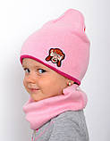 Детская шапка на весну для девочки, Коралловый, 48-53, фото 8