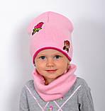 Детская шапка на весну для девочки, Коралловый, 48-53, фото 9