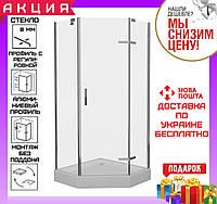 Душевая кабинка пятиугольная 100x100 см дверь распашная Eger Stefani 599-535 с душевым поддоном