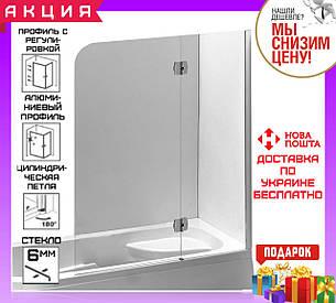Шторка для ванны 120 см Eger 599-120CH/R стекло прозрачное