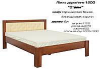 """Кровать деревянная """"Стронг"""" дерево бук, цвет орех/кожзаменитель бежевый и орех/кожзаменитель коричневый"""