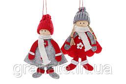 """Новогоднее украшение, подвеска """"Куколки"""" 16 см, 36 шт."""