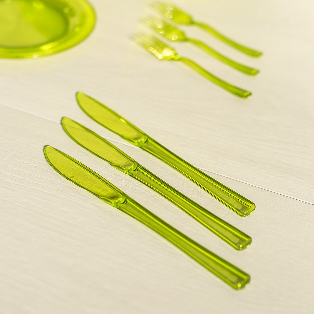 Ножи одноразовые 12 шт 200 мм для фуршета и кейтеринга Capital For People зеленые.