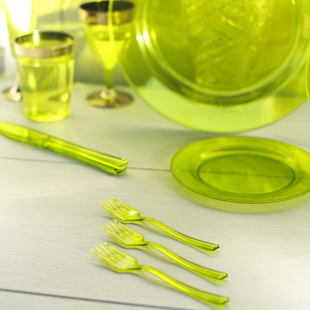 Вилки десертные одноразовые 24 шт 130 мм для фуршета и кейтеринга Capital For People плотные зеленые