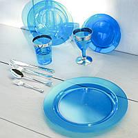 Тарелки одноразовые премиум, плотные для фуршета и кейтеринга 260 мм 6 шт Capital For People синие., фото 1