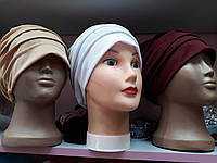 Чалма шапка однотонная маленькая со складочками до 56 размера