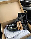 Женские зимние ботинки Dr. Martens 1460 лакированные черные без меха 30-41рр. Реальное фото. Топ реплика, фото 2
