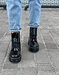 Женские зимние ботинки Dr. Martens 1460 лакированные черные без меха 30-41рр. Реальное фото. Топ реплика, фото 5