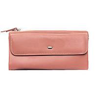 Женский кожаный кошелек 19*10*3 розовый, фото 1