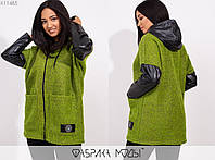 Демисезонная куртка женская с кожаным капюшоном и рукавами ТЖ/-025 - Оливковый, фото 1