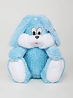 Мягкая игрушка Зайчик сидячий голубого цвета, высота 55 см
