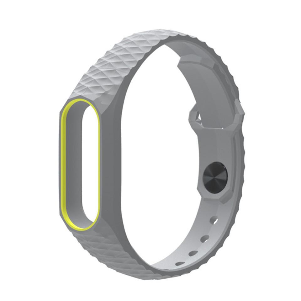 Ремешок Xiaomi Mi Band 2 MiJobs силиконовый рифленый Серый / Желтый [1089]