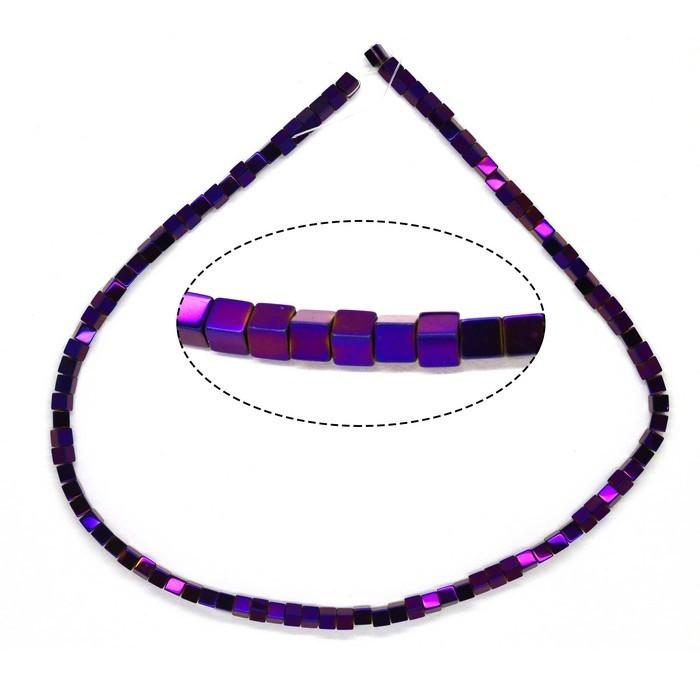 Намистини гематит квадрат фіолетовий 2,5х2,5мм. Ціна за нитку